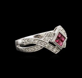 0.40ctw Ruby And Diamond Ring - 14kt White Gold
