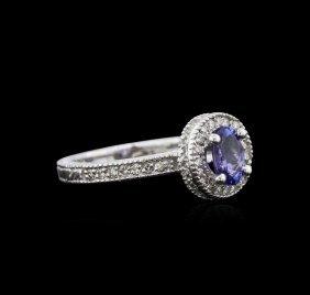 0.81ct Tanzanite And Diamond Ring - 14kt White Gold