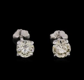 0.76ctw Diamond Stud Earrings - 14kt White Gold