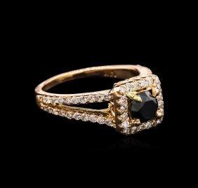 1.30ctw Black Diamond Ring - 14kt Rose Gold