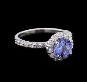 1.30ct Tanzanite And Diamond Ring - 14kt White Gold