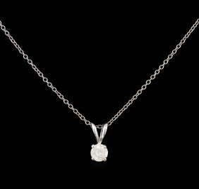 0.24ct Diamond Pendant With Chain - 14kt White Gold