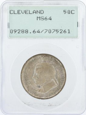 1936 Pcgs Graded Ms64 Cleveland Commemorative Half