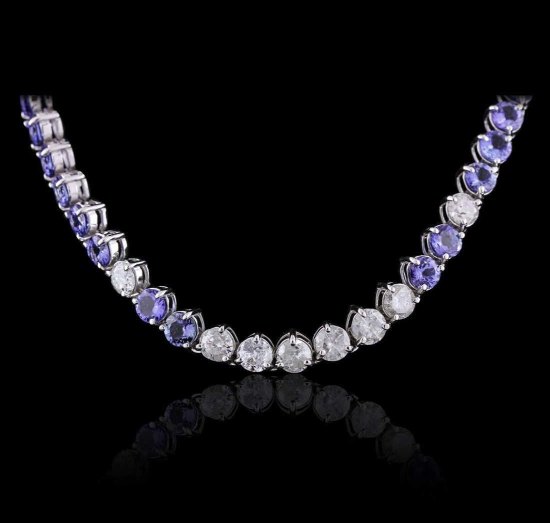 14KT White Gold 27.84ctw Tanzanite and Diamond Necklace