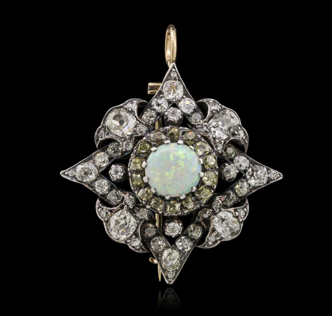 14KT Two-Tone Gold 1.87ct Opal and Diamond Brooch