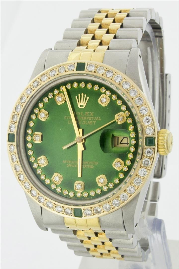 Rolex Two Tone String Diamond and Emerald DateJust