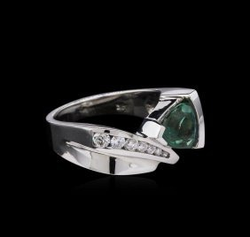 2.12ct Alexandrite And Diamond Ring - 14kt White Gold