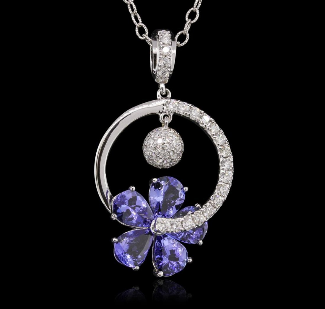 14KT White Gold 9.20ctw Tanzanite and Diamond Pendant