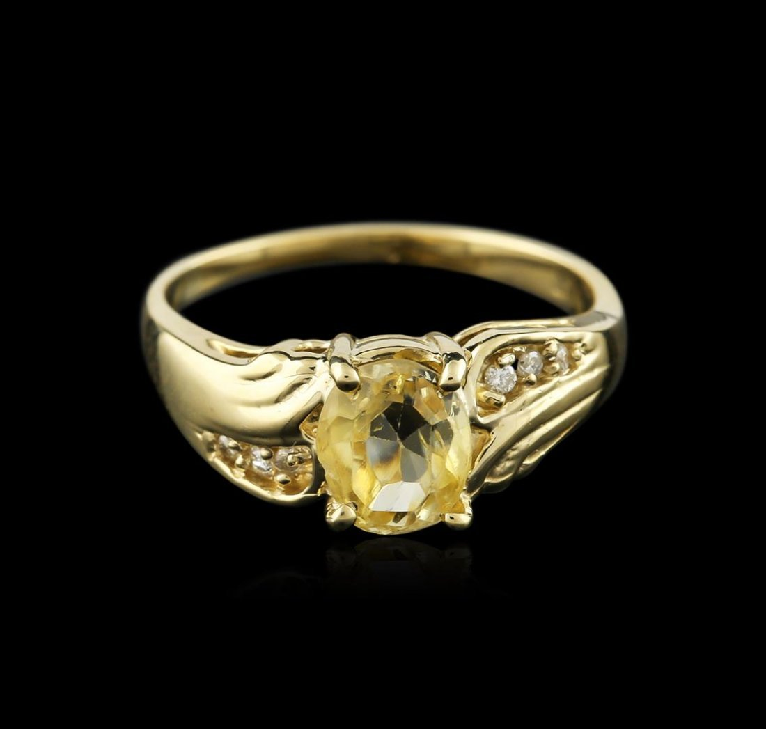 14KT Yellow Gold 1.24ct Yellow Sapphire and Diamond