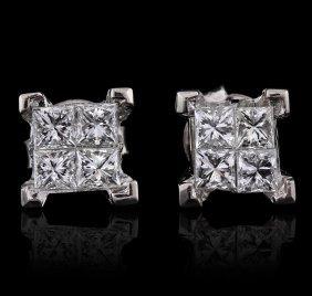 14kt White Gold 1.33ctw Diamond Earrings