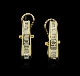 14kt Yellow Gold 1.10ctw Diamond Hoop Earrings