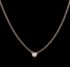 14kt Rose Gold 0.15ct Diamond Solitaire Necklace