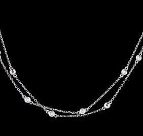 0.86ctw Diamond Necklace - 14kt White Gold