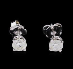 0.70ctw Diamond Stud Earrings - 14kt White Gold