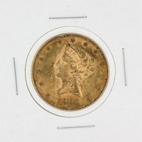 1901 $10 Xf Liberty Head Eagle Gold Coin