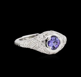 0.60ct Tanzanite And Diamond Ring - 14kt White Gold