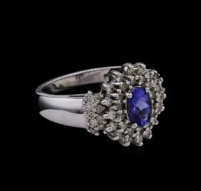 0.15ct Tanzanite And Diamond Ring - 14kt White Gold