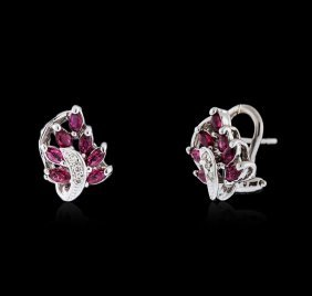 14kt White Gold 0.80ctw Ruby And Diamond Earrings