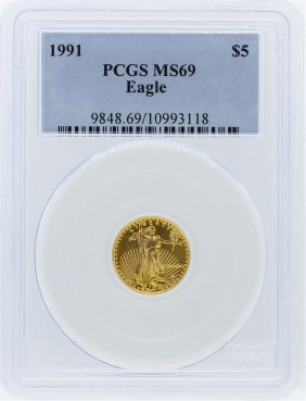 1991 Pcgs Ms69 $5 American Eagle Gold Bullion Coin
