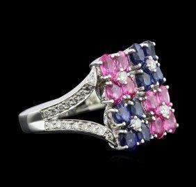 2.00ctw Multi Sapphire And Diamond Ring - 14kt White
