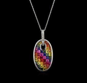 5.22ctw Multi Sapphire And Diamond Pendant With Chain -
