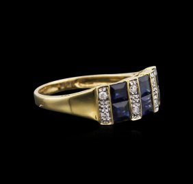14kt Yellow Gold 1.67ctw Blue Sapphire And Diamond Ring