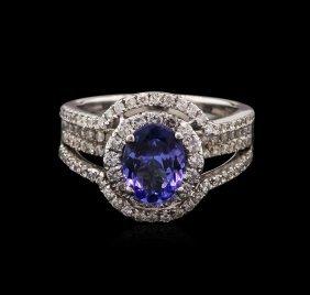 1.25ct Tanzanite And Diamond Ring - 18kt White Gold