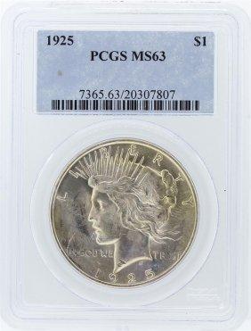 1925 Pcgs Ms63 Peace Silver Dollar