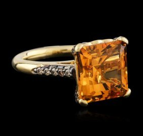 14kt Yellow Gold 8.50ct Citrine And Diamond Ring