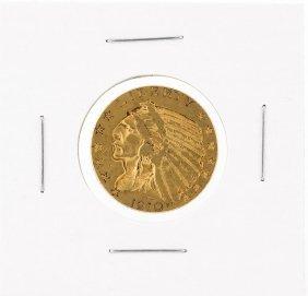 1910 $5 Xf Indian Head Half Eagle Gold Coin