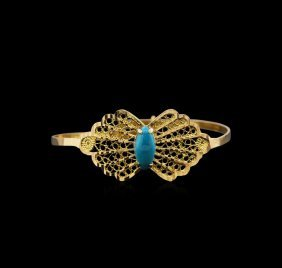 21kt Yellow Gold Turquoise Butterfly Bangle Bracelet