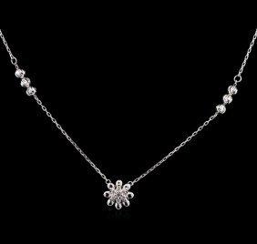 0.08ctw Diamond Necklace - 14kt White Gold