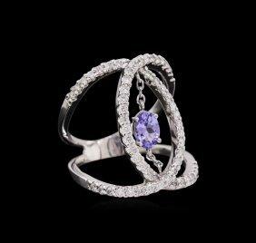 0.44ct Tanzanite And Diamond Ring - 14kt White Gold