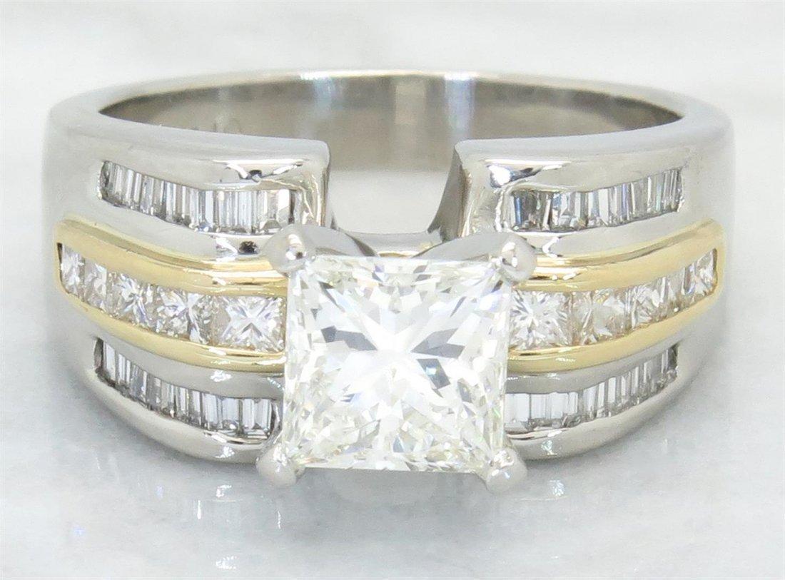 GIA Cert 2.31ctw Diamond Ring - Platinum and 18KT