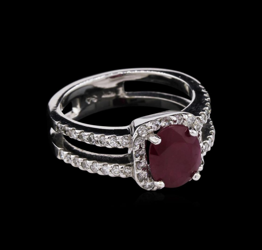 2.22ct Ruby and Diamond Ring - 14KT White Gold