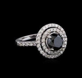 3.36ctw Black Diamond Ring - 14kt White Gold