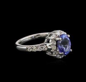 2.05ct Tanzanite And Diamond Ring - 14kt White Gold