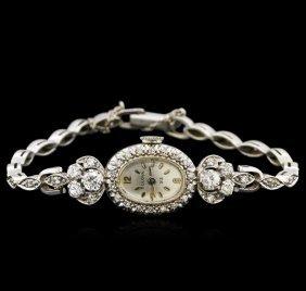 Bulova 14kt White Gold Diamond Vintage Ladies Watch