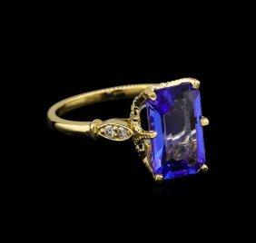 4.15ct Tanzanite And Diamond Ring - 14kt Yellow Gold