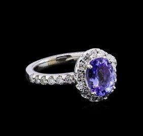 1.90ct Tanzanite And Diamond Ring - 14kt White Gold