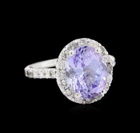 3.28ct Tanzanite And Diamond Ring - 14kt White Gold