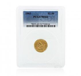 1903 Pcgs Ms62 $2.50 Liberty Head Quarter Eagle Gold
