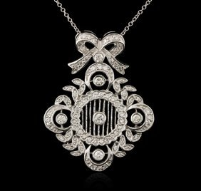 14kt White Gold 1.05ctw Diamond Pendant With Chain