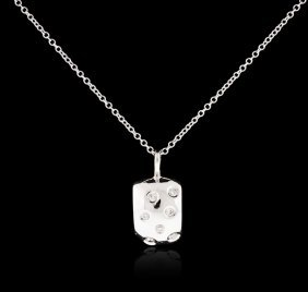 14kt White Gold 0.08ctw Diamond Pendant With Chain