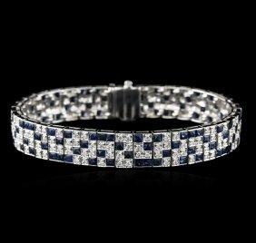 18kt White Gold 9.52ctw Sapphire And Diamond Bracelet