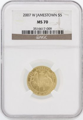 2007-w Ngc Ms70 $5 Jamestown Gold Coin