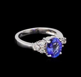 2.06ct Tanzanite And Diamond Ring - 14kt White Gold