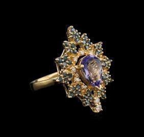 1.72ct Tanzanite And Diamond Ring - 14kt Yellow Gold