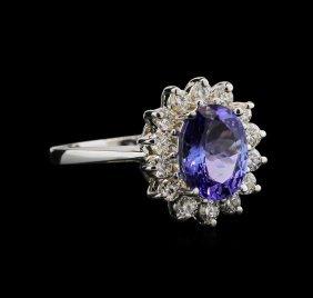 3.00ct Tanzanite And Diamond Ring - 18kt White Gold