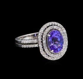 2.11ct Tanzanite And Diamond Ring - 14kt White Gold